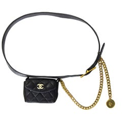 Chanel Vintage Black Quilted Leather Belt Bag Fanny Pack with Chain, 1994