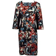 Etro Black And Multi Floral Silk Print Three Quarter Sleeve Dress