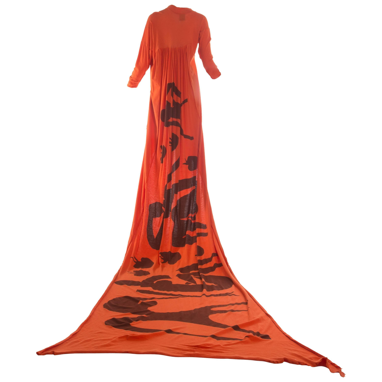 Worlds End orange cotton jersey toga dress with Henri Matisse print, A / W 1982