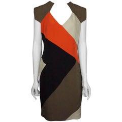 Lela Rose Brown/Orange/Beige S/S Silk Dress - 8