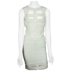Herve Leger Ivory Bandage Dress With Ruffle Detail