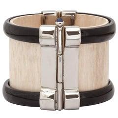 Fouche Art Deco Cuff Bracelet Horn Sapphire Wood