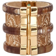 Fouche Cuff Gold Bracelet Horn Emerald Wood