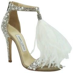 Jimmy Choo Viola White/Crystal Mix Wedding Sandals - NEVER USED - 36
