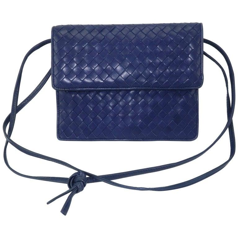 Bottega Veneta Vintage Royal Blue Intrecciato Leather Shoulder Handbag