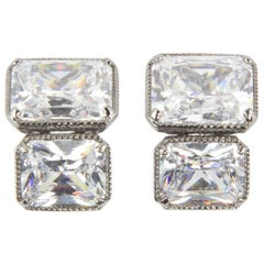 Amazing Faux Cushion Cut Diamond Statement Earrings