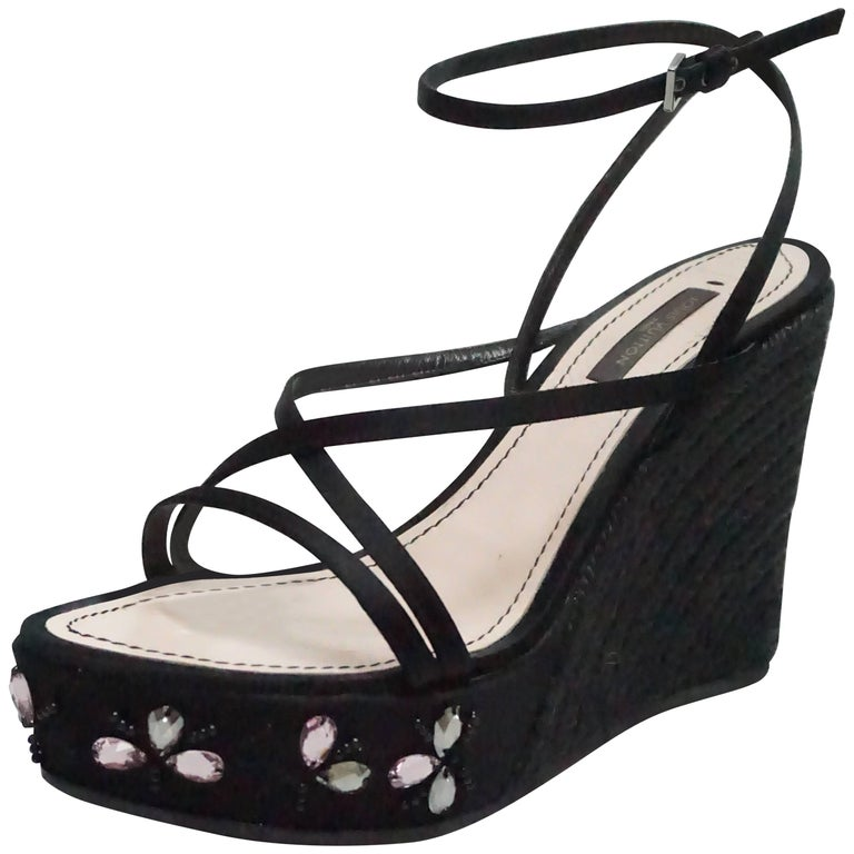 Louis Vuitton Black Silk and Raffia Wedge with Pink Stones - 37
