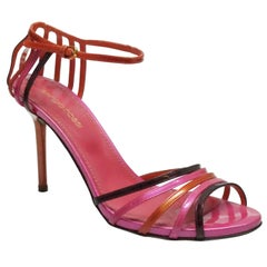 Sergio Rossi Pink and Orange Patent Strappy Sandal