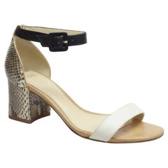 Alexandre Birman White and Earthtone Python Sandal
