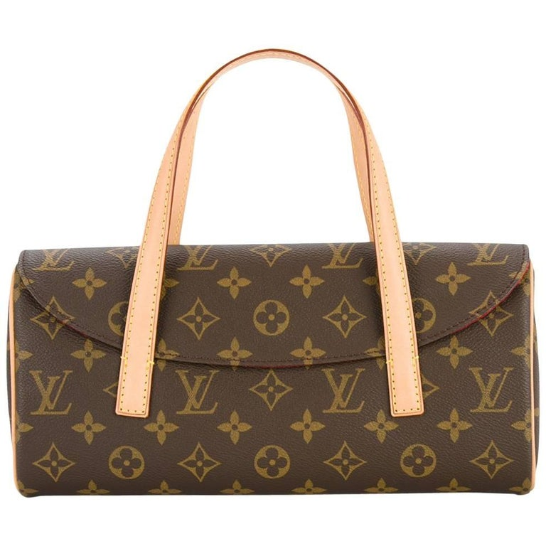 Louis Vuitton Monogram Brown Evening Top Handle Satchel Flap Bag