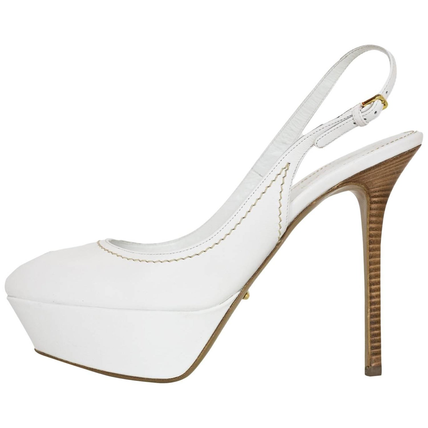 2fd430dcb872 Sergio Rossi White Leather Peep-toe Pumps Sz 38 NIB For Sale at 1stdibs