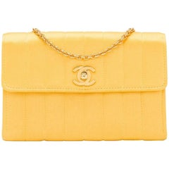 Chanel Vintage Yellow Vertical Quilted Satin Mini Flap Bag