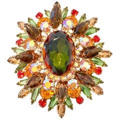 "Monumental ""Juliana"" Gold & Swaorvski Crystal Rhinestone Brooch & Pendant"