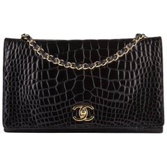 Chanel Vintage Black Crocodile Full Flap Bag