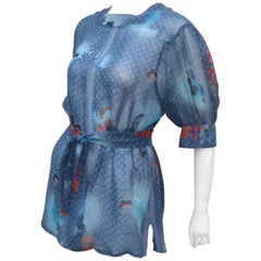 Franck Olivier Sheer Blue Floral Peasant Top With Tie, 1970s