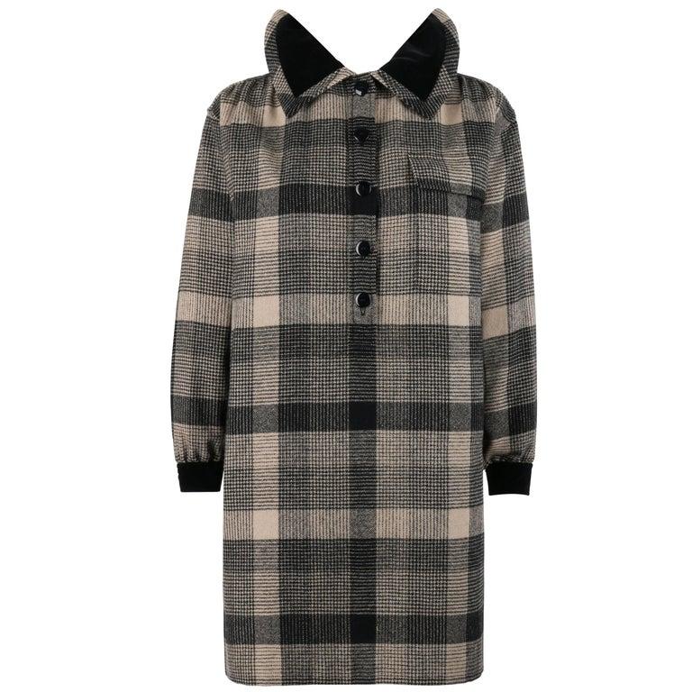 YVES SAINT LAURENT c.1970's YSL Black & Gray Glen Check Wool Tunic Shirt Dress