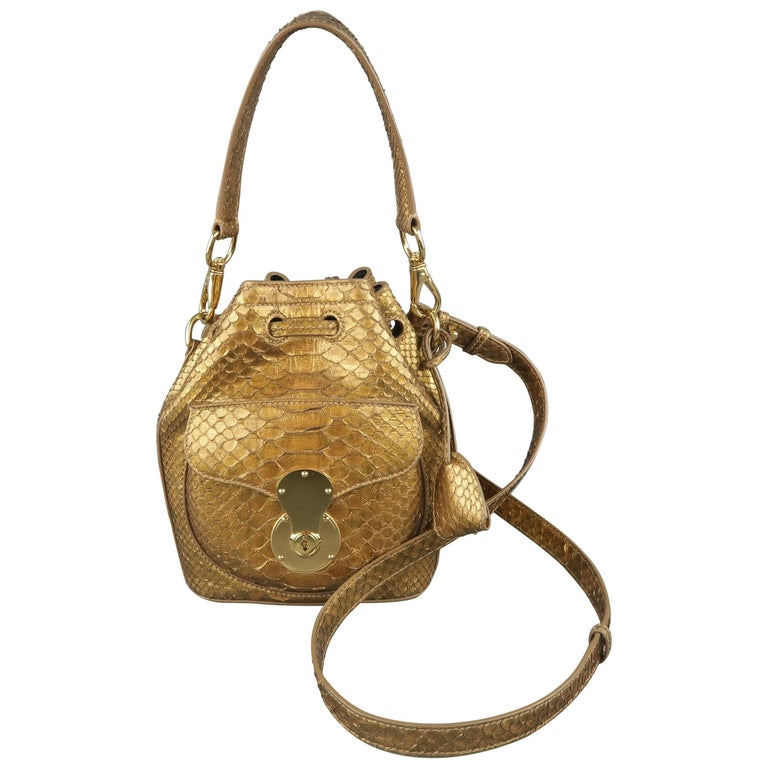 9d8004bd7f28 Ralph Lauren Metallic Gold Snake Skin Leather Ricky Bucket Bag Handbag For  Sale at 1stdibs