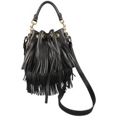 SAINT LAURENT Bucket Bag - Black Fringe Leather Emmanuelle Cross Body Handbag