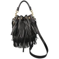 SAINT LAURENT Black Fringe Leather Emmanuelle Cross Body Bucket Bag