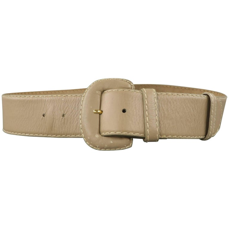 Vintage DONNA KARAN Taupe Gray M Leather Covered Buckle Belt For Sale
