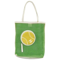 CHANEL Green Mesh White Leather Trim Tennis Ball Tote Bag