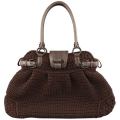 SALVATORE FERRAGAMO Brown Chrochet Knit Leather Top Handles Handbag