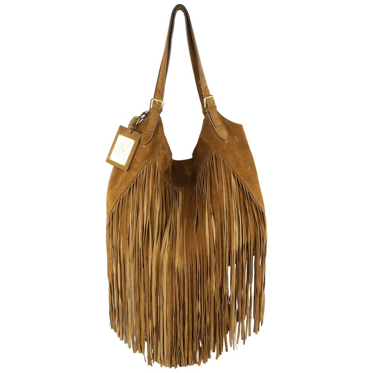 RALPH LAUREN Tan Suede Long Fringe Trim Hobo Handbag