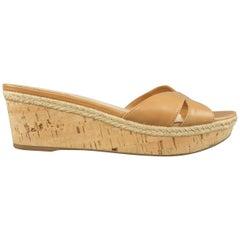 PRADA Size 10 Tan Leather Cork Wedge Mules
