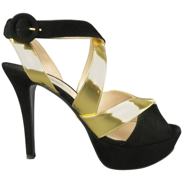 a677b953a84 PRADA Size 10 Black Suede   Metallic Gold Leather Platform Strappy Sandals  For Sale
