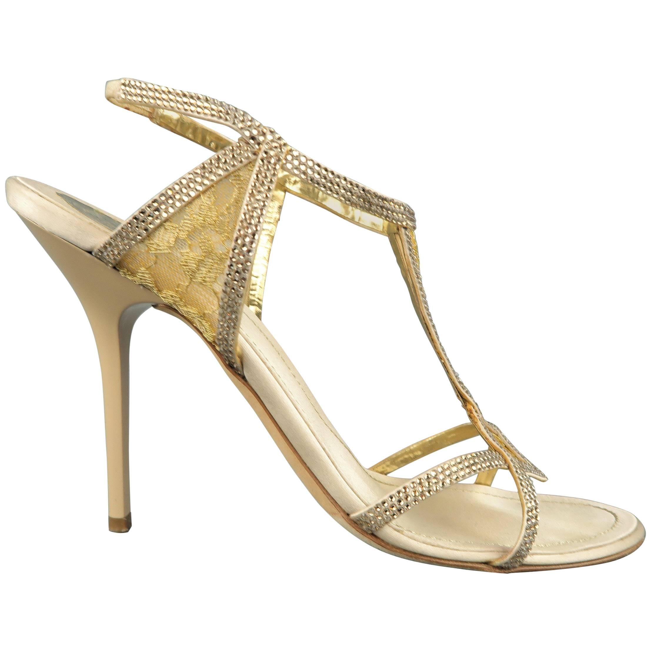 RENE CAOVILLA Size 10 Beige Rhinestone Leather & Gold Lace Sandals