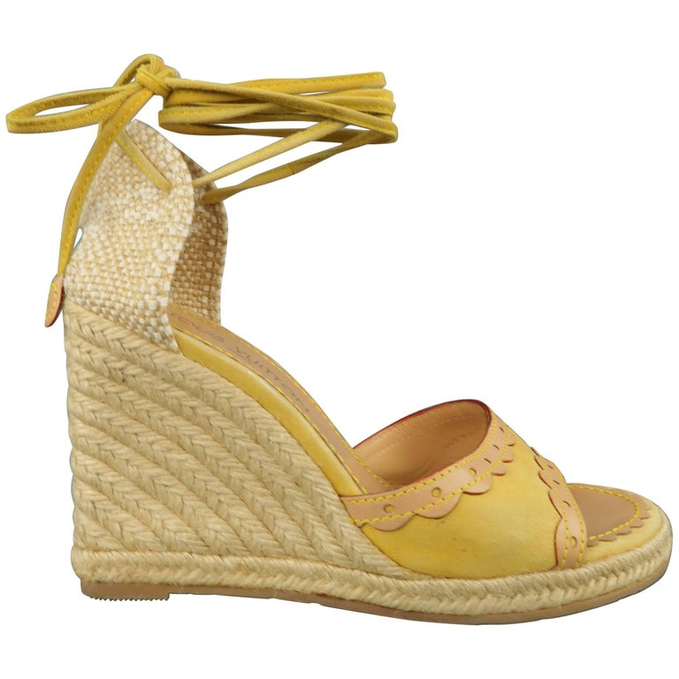 2e6da5bf9c4 Louis Vuitton Yellow Suede Tied Ankle Strap Espadrille Wedges For Sale
