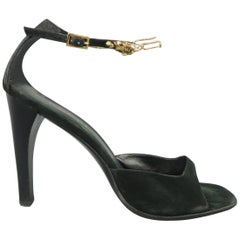 GUCCI Size 9.5 Black Suede Gold Jaguar Chain Ankle Strap Sandals