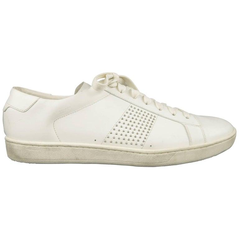 09f9d6fec45 Men's SAINT LAURENT Size 10 White Studded Leather SL/01 Low Top Sneakers  For Sale