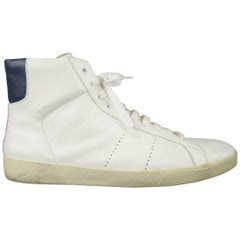 Men's SAINT LAURENT Size 10 White & Navy Leather SL/06 High Top Sneakers