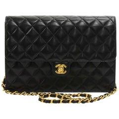 "Chanel 10"" Classic Black Quilted Leather Half Flap Shoulder Bag Ex"