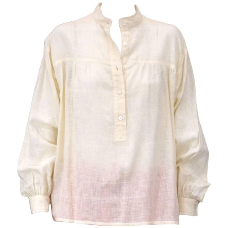 Yves Saint Laurent Ivory Cotton Peasant Shirt