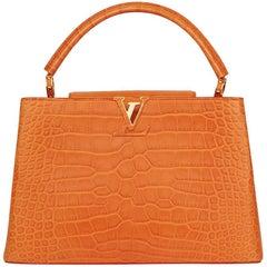 2014 Louis Vuitton Orange Matte Alligator Leather Capucines MM