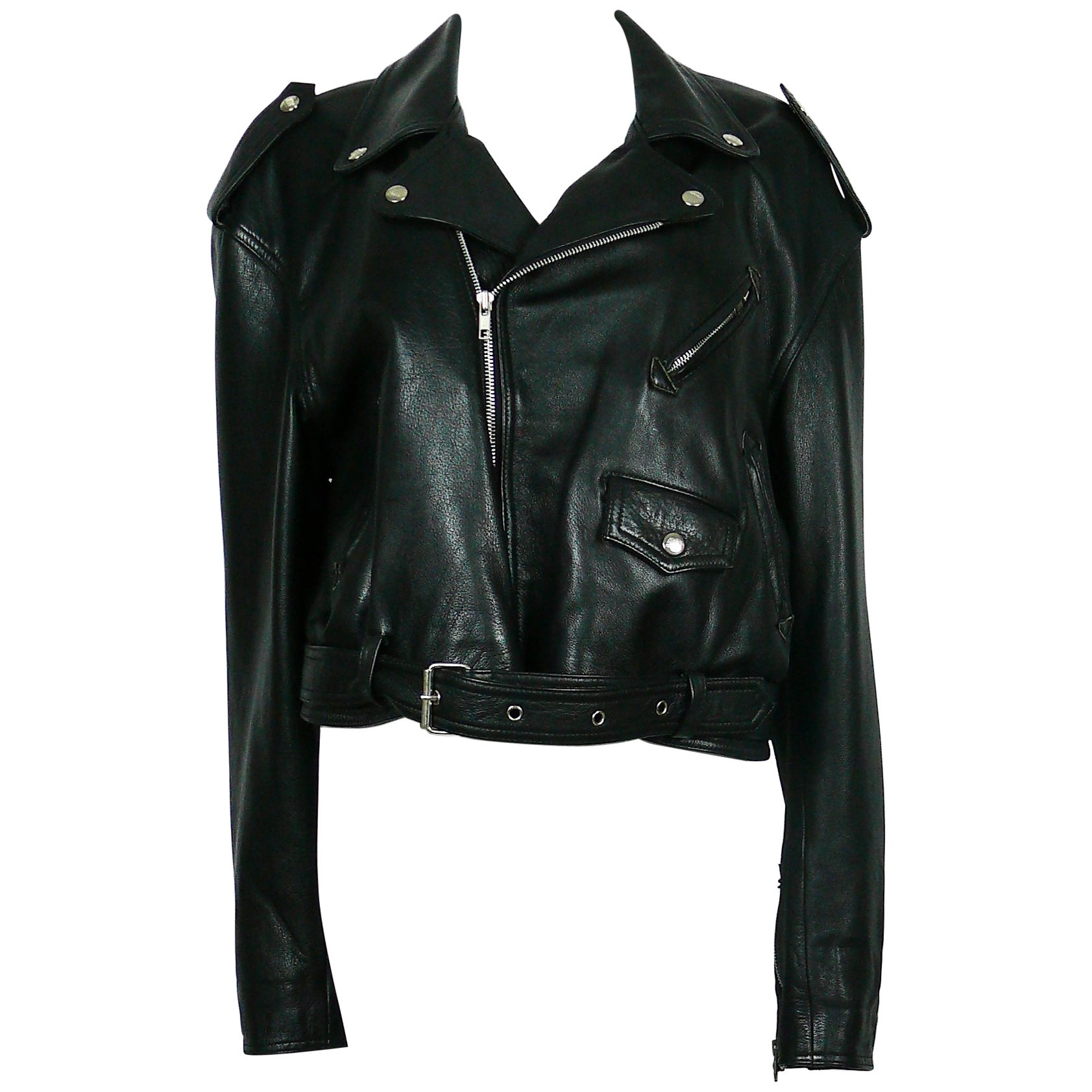 2ee9ae7de Jean Paul Gaultier Vintage Black Leather Perfecto Biker Jacket