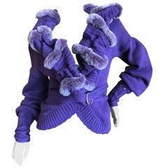 Just Cavalli Luxurious Purple Sweater with Genuine Fur Trim