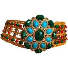 Roberto Cavalli Wide Golden Faux Turquoise & Emerald Wide Maharaja Belt  XL