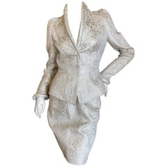Thierry Mugler Paris for Bergdorf Goodman 1980's Structured Silver Brocade Suit