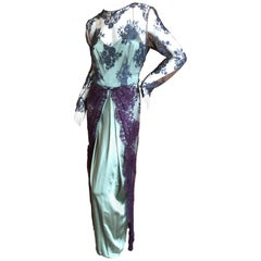 Bill Blass Vintage 1970's Silk Evening Dress with Lace Overlay Details