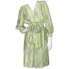 An 80s Yves Saint Laurent Jacquard Wowen Silk Ensemble M