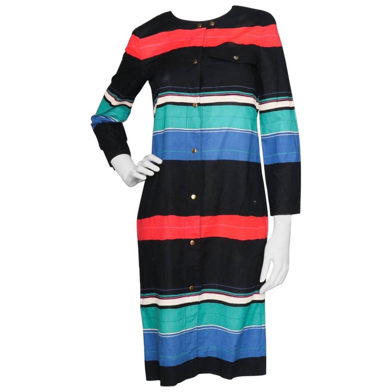 A 70s Vintage Christian Dior Boutique Striped Cotton Dress