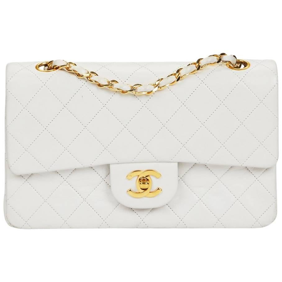 1990 Chanel White Quilted Lambskin Vintage