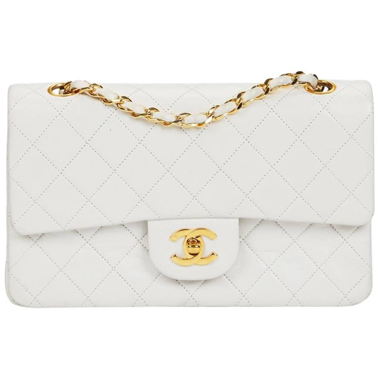 8103f51aa889 1990 Chanel White Quilted Lambskin Vintage Small Classic Double Flap Bag at  1stdibs