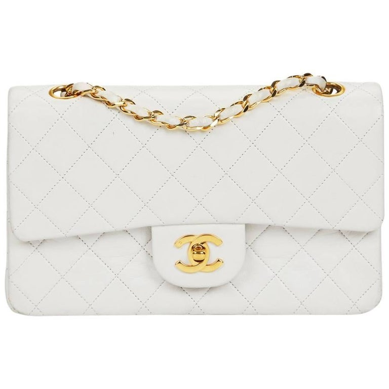 1990 Chanel White Quilted Lambskin Vintage Small Classic Double Flap Bag