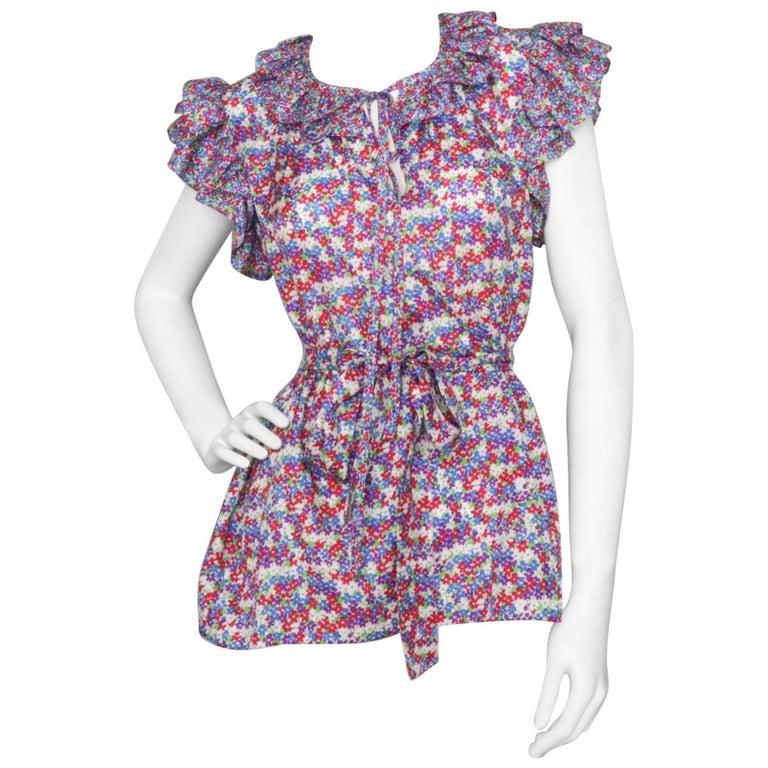 A 1980s Vintage Yves Saint Laurent Haute Couture Floral Silk Blouse
