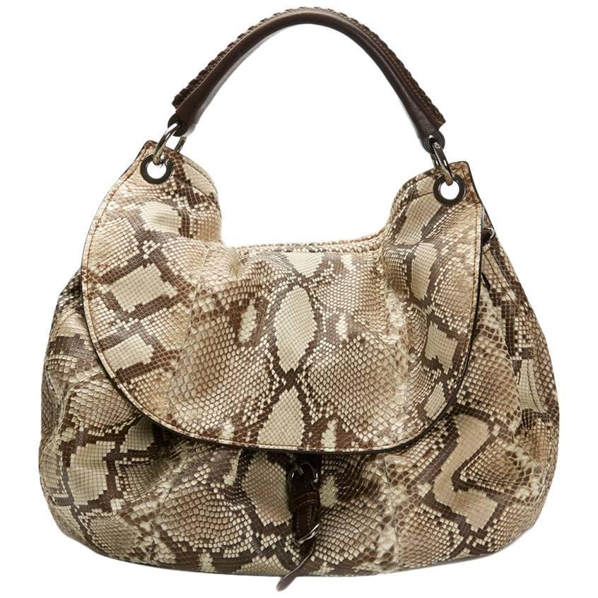 2011 Mui Mui Python Leather Aviator Hobo Bag