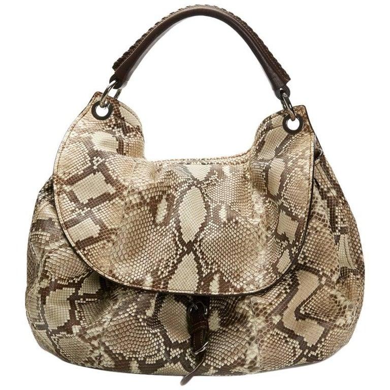 2011 Mui Mui Python Leather Aviator Hobo Bag For Sale